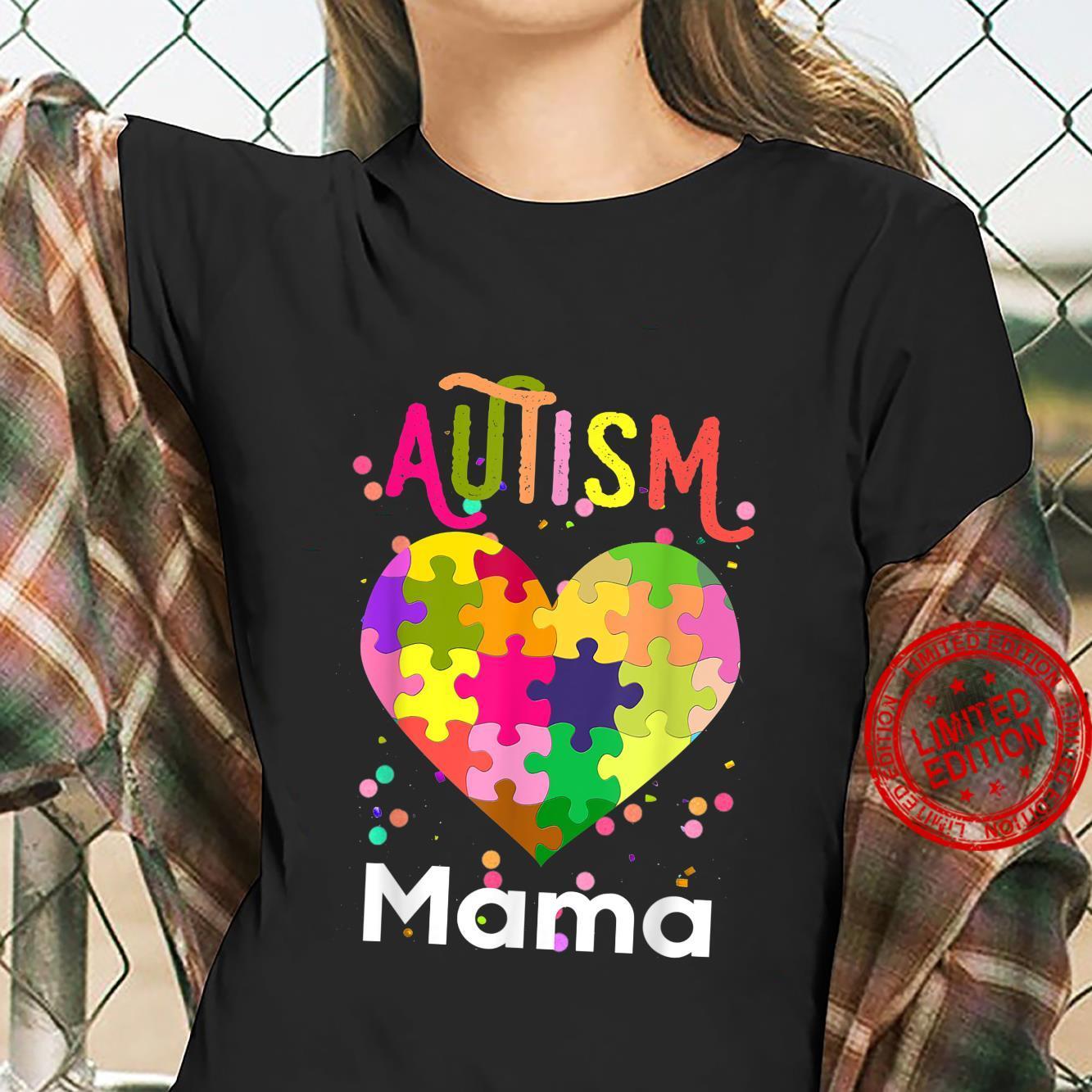 Autism Awareness Mama Bear Support Autistic Autism Mom Shirt ladies tee