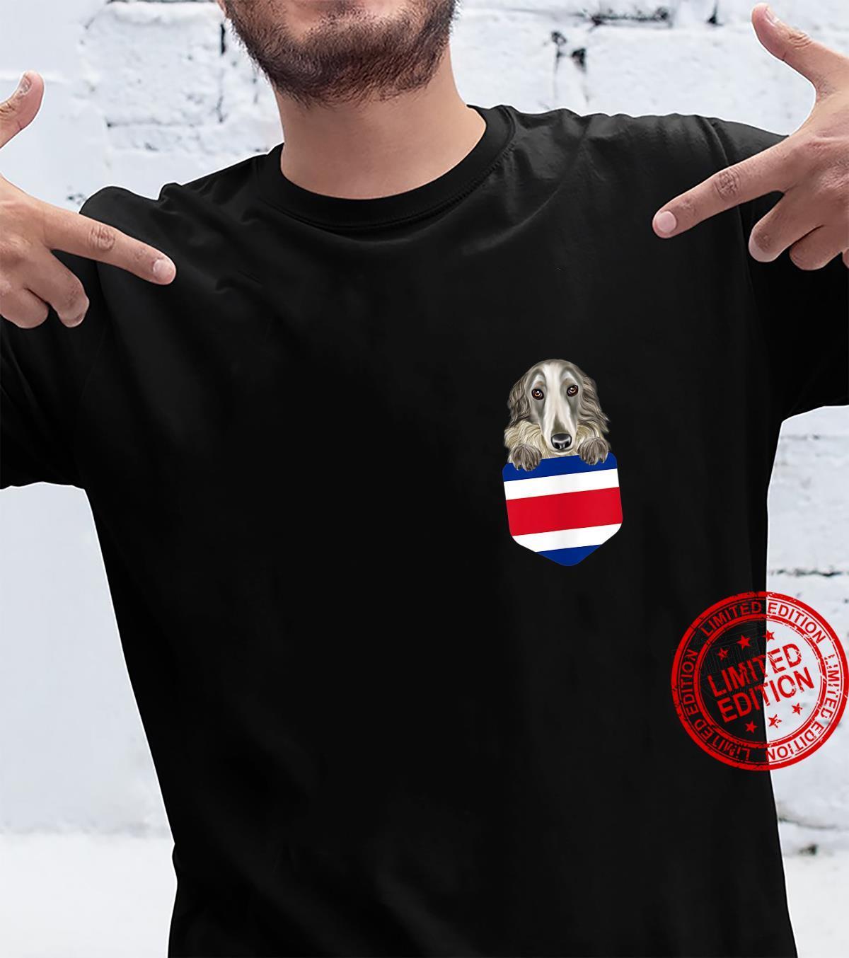 Costa Rica Flag Borzoi Dog In Pocket Shirt