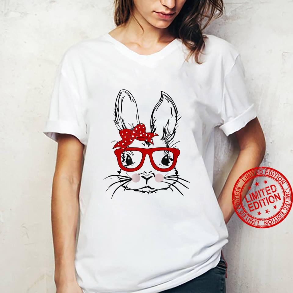 Cute Bunny Face Tie Dye Glasses Easter Day Shirt ladies tee