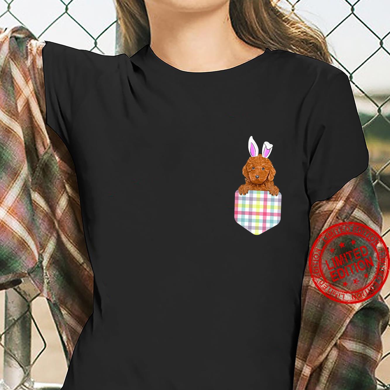 Easter Plaid Brown Poodle Bunny Dog In Pocket Shirt ladies tee