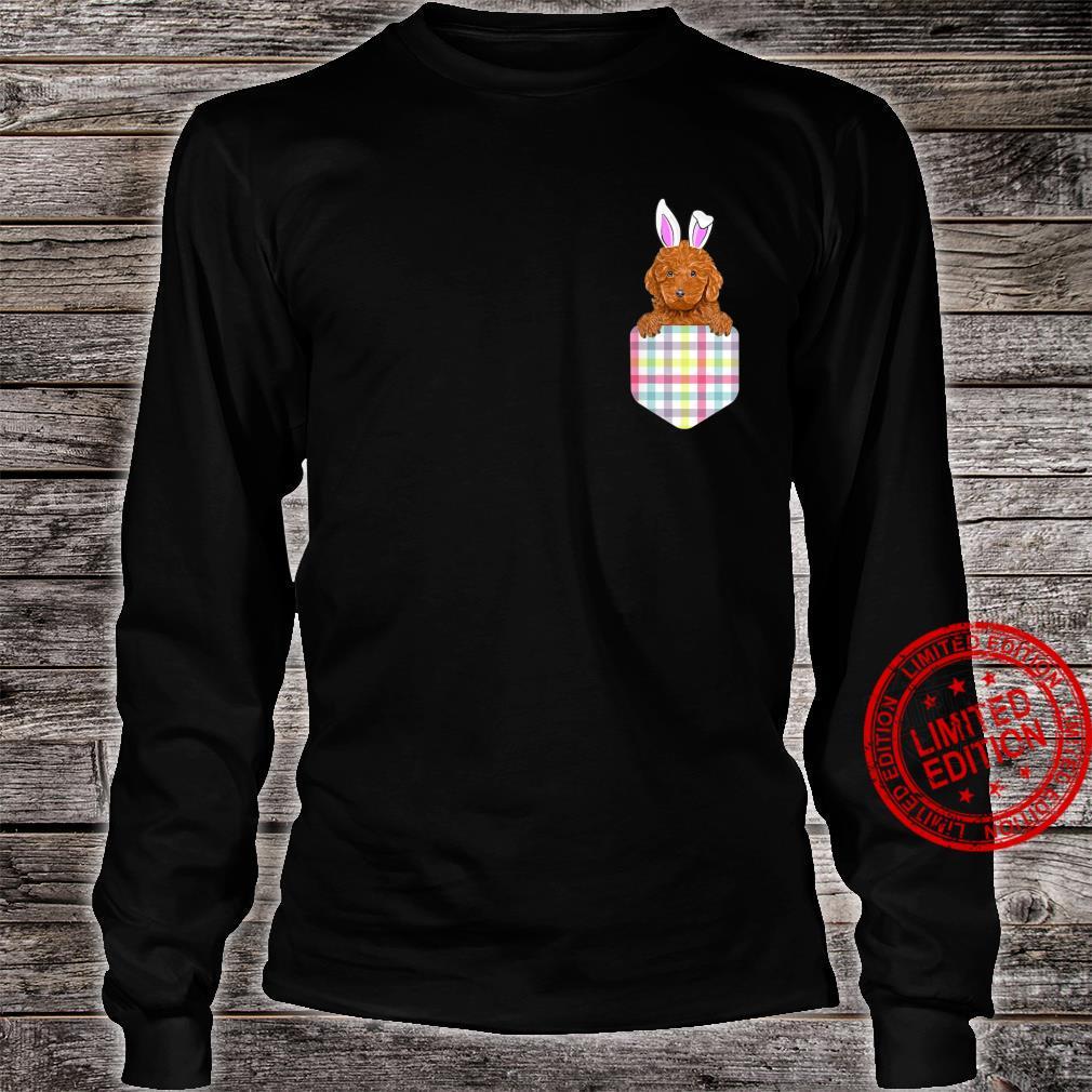 Easter Plaid Brown Poodle Bunny Dog In Pocket Shirt long sleeved