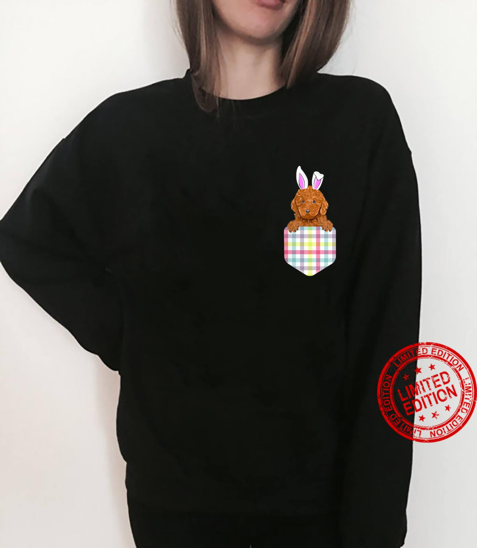 Easter Plaid Brown Poodle Bunny Dog In Pocket Shirt sweater