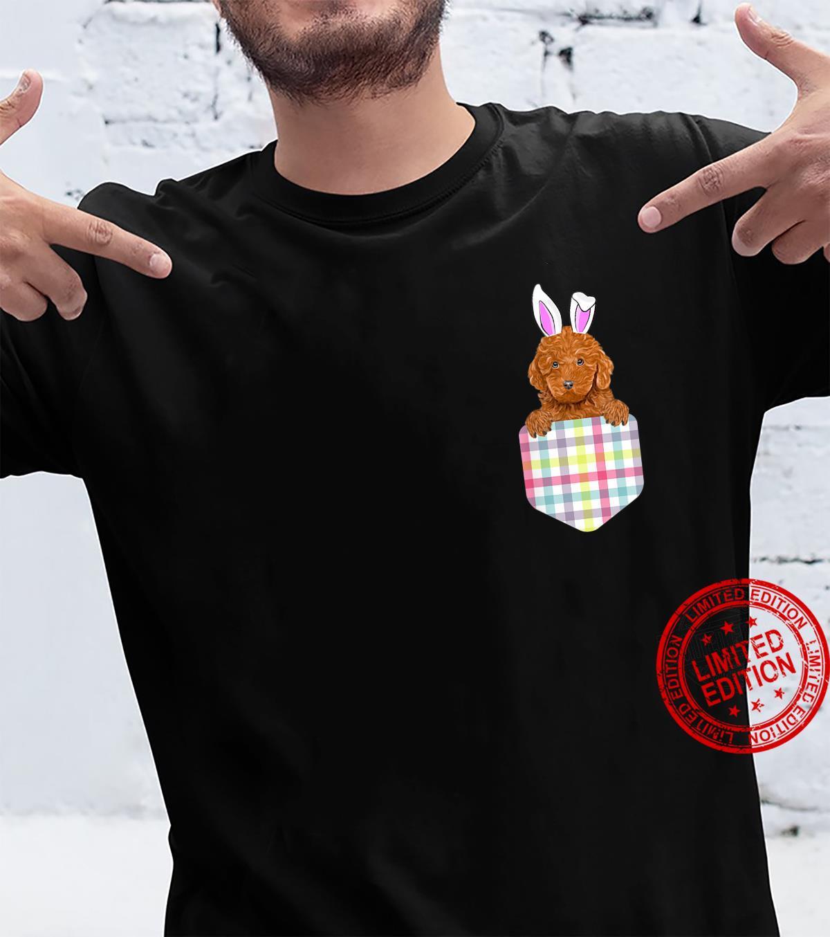 Easter Plaid Brown Poodle Bunny Dog In Pocket Shirt