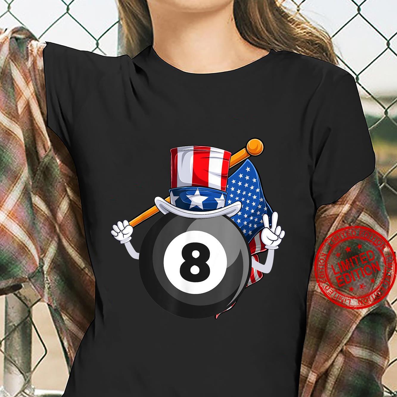 Eight Ball American Billard Fan 4th of July Uncle Sam USA Shirt ladies tee