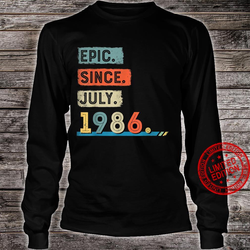 Epic Since July 1986 35th Birthday Shirt Shirt long sleeved