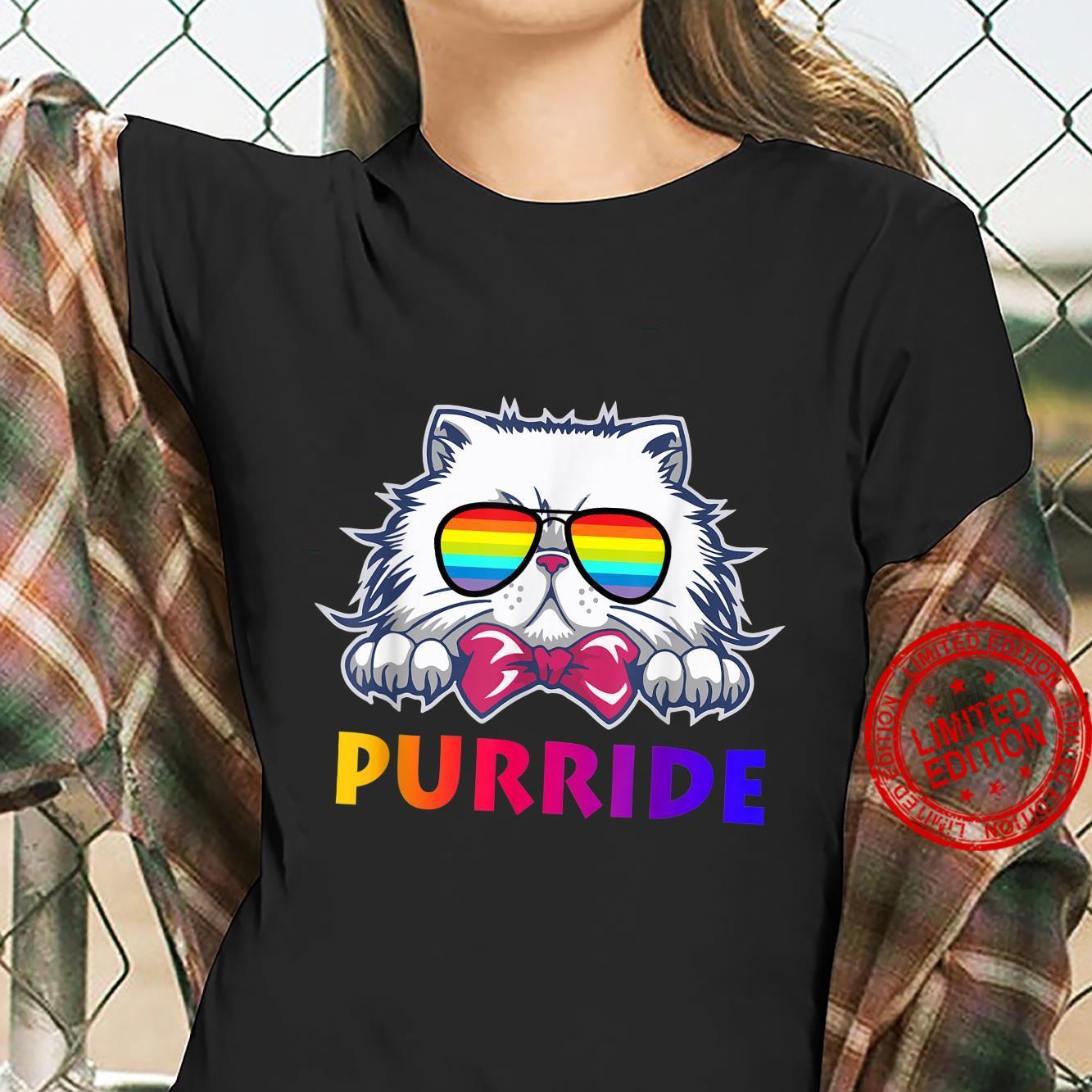 Feline The Purride Gay Pride Cat Kitten Sunglasses Shirt ladies tee