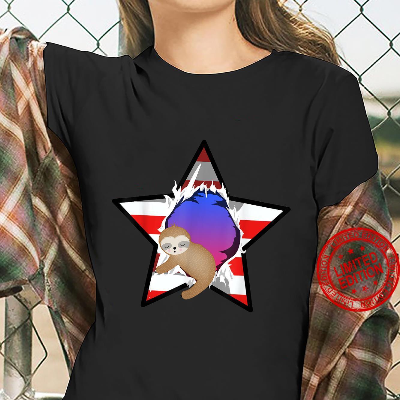 Funny American Baby Sloth USA Flag Star 4th July Shirt ladies tee