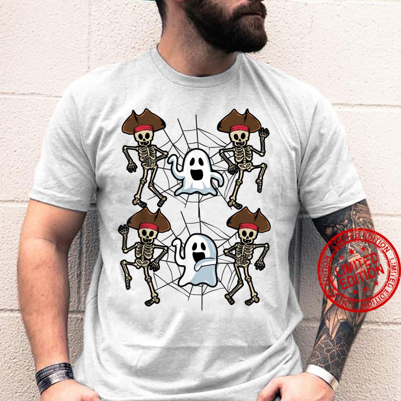 Halloween Jubilation Dancing Pirate Skeleton And Ghost Skull Shirt