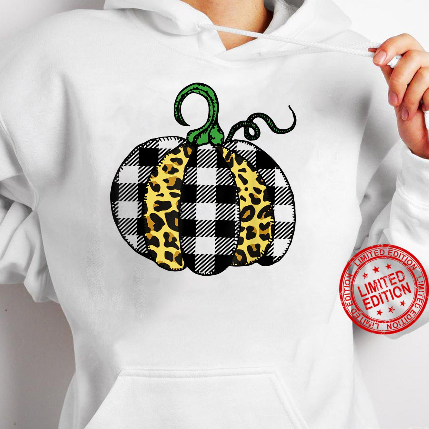 Halloween Thanksgiving Pumpkin Leopard Buffalo Plaid Pattern Shirt hoodie