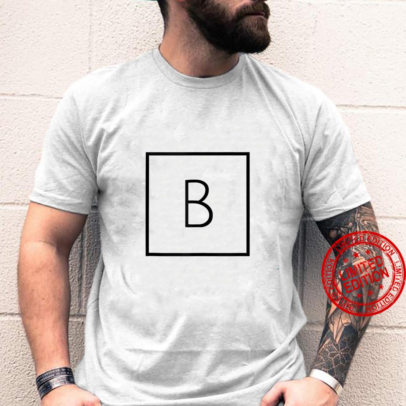 Letter B Alphabet, Initial and Capital, Black Font Shirt