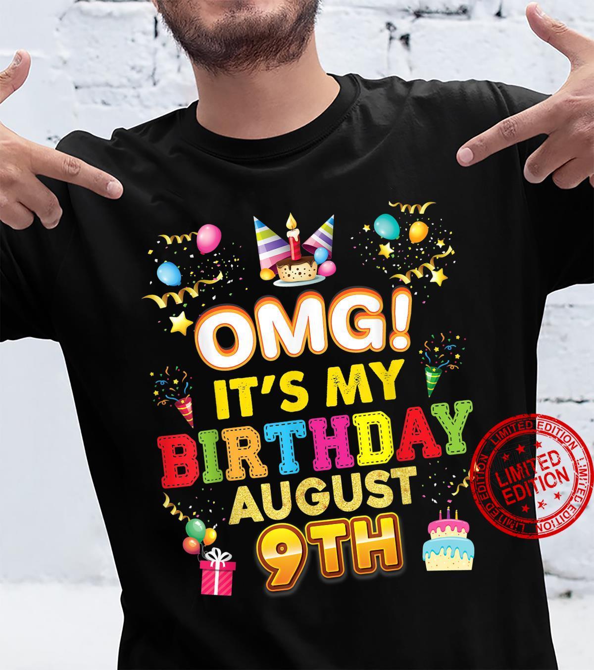 OMG It's My Birthday August 9th Vintage 9 Happy Kid Shirt