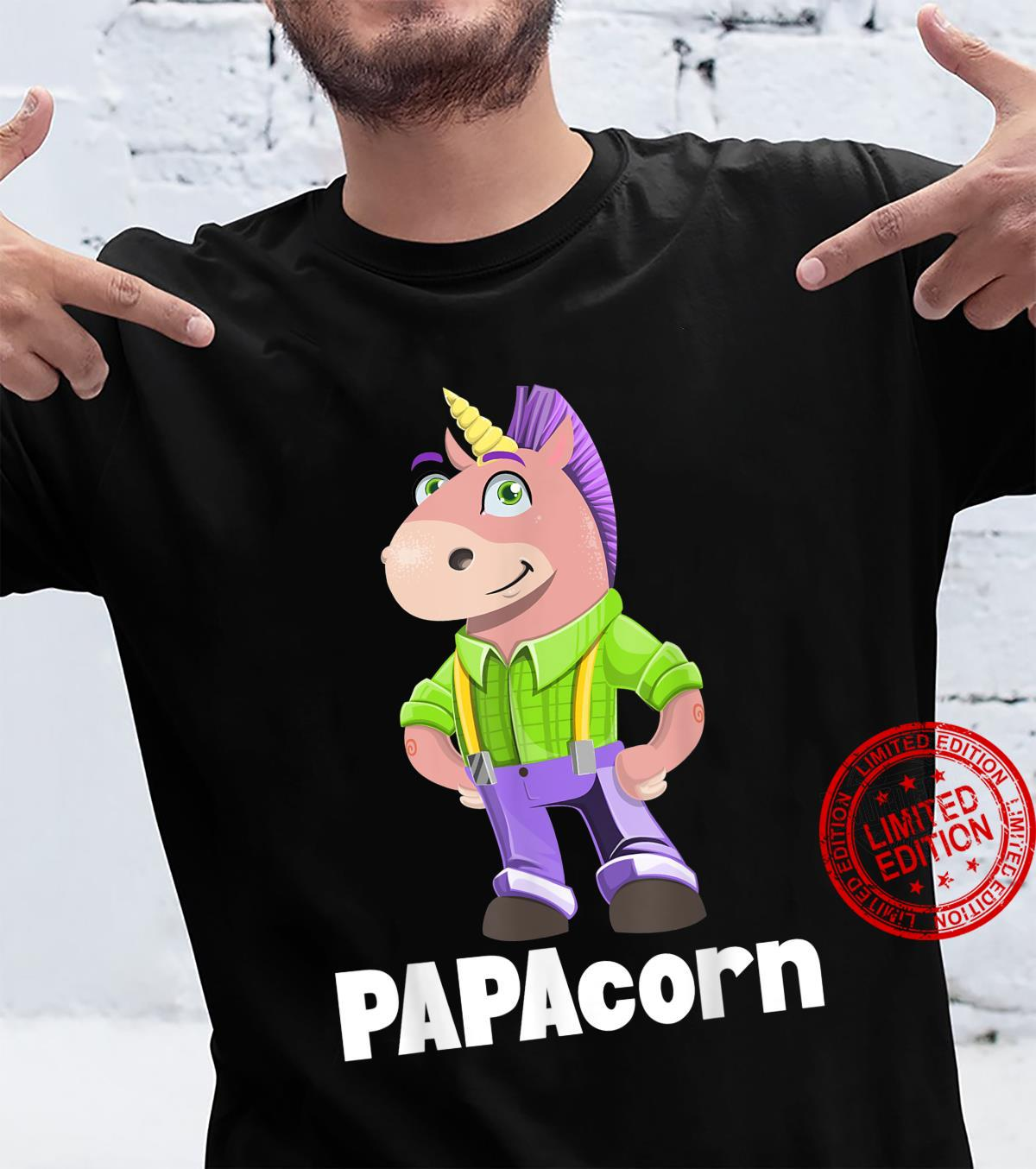 PAPAcorn Father Unicorn Dad Father's Day Papa Daddy Daughter Shirt