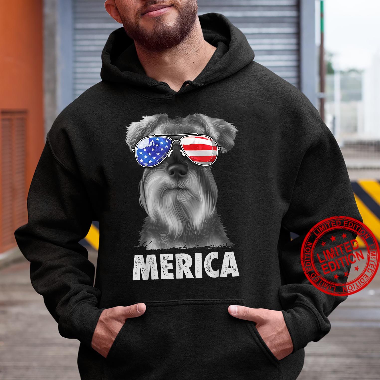 Schnauzer 4th of July Merica American Flag Sunglasses Shirt hoodie