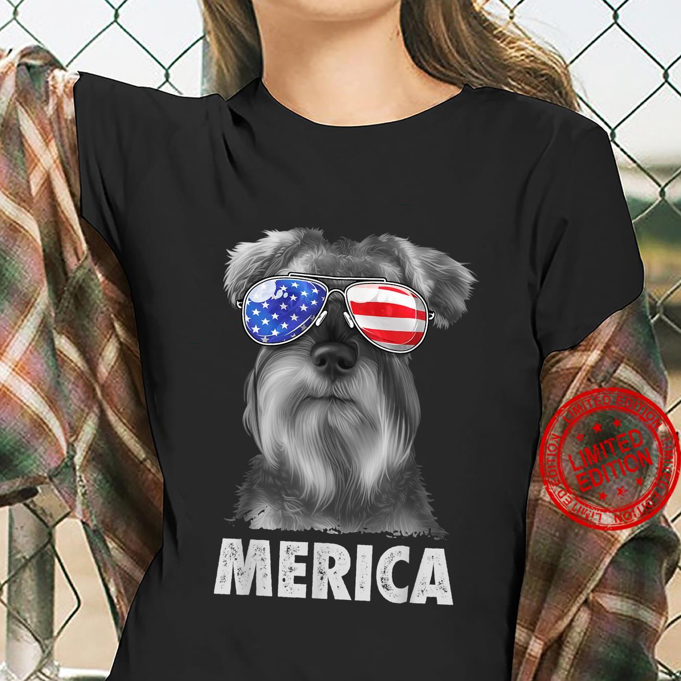 Schnauzer 4th of July Merica American Flag Sunglasses Shirt ladies tee