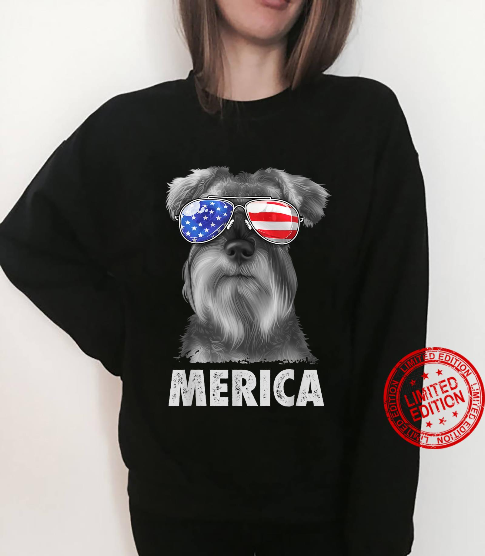 Schnauzer 4th of July Merica American Flag Sunglasses Shirt sweater