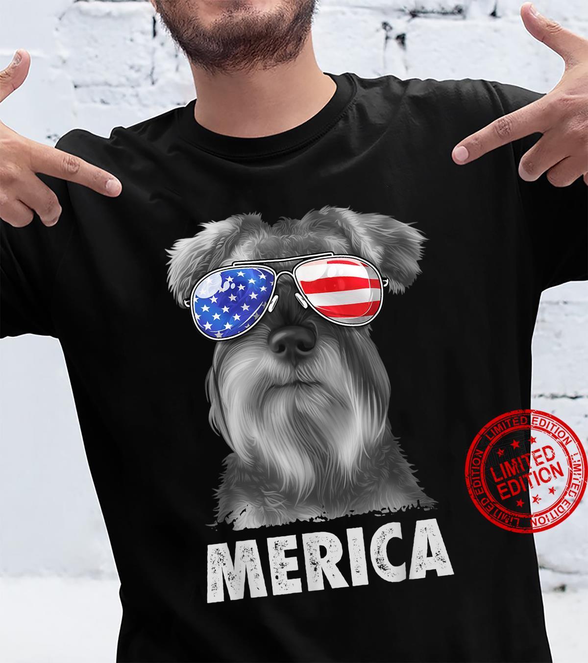 Schnauzer 4th of July Merica American Flag Sunglasses Shirt