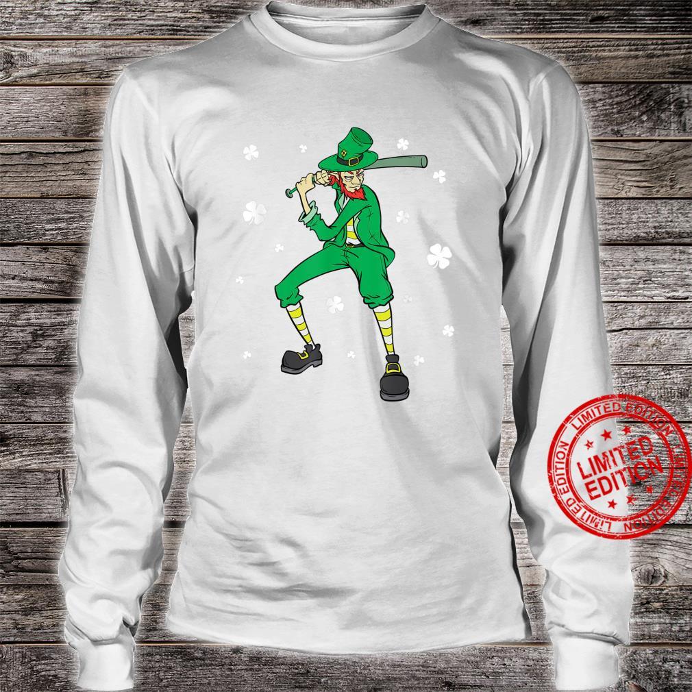 St Patrick's Day Baseball Player Leprechaun Shirt long sleeved
