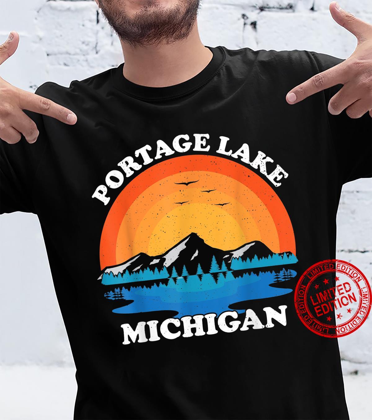 Summer Vacation Retro Sunset Michigan Portage Lake Shirt