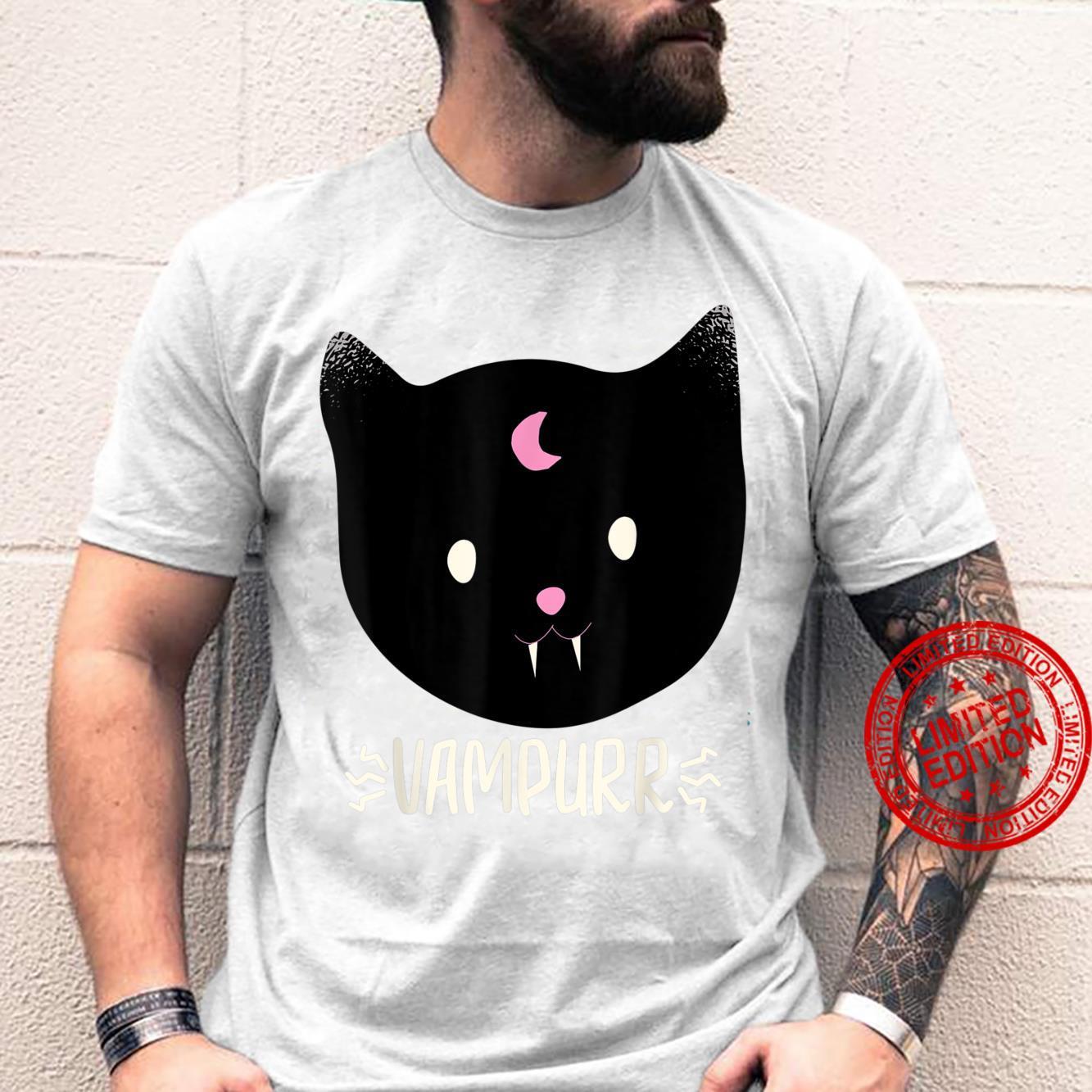Vampurr Pun Cute Black Cat Halloween Vampire Kitten Shirt