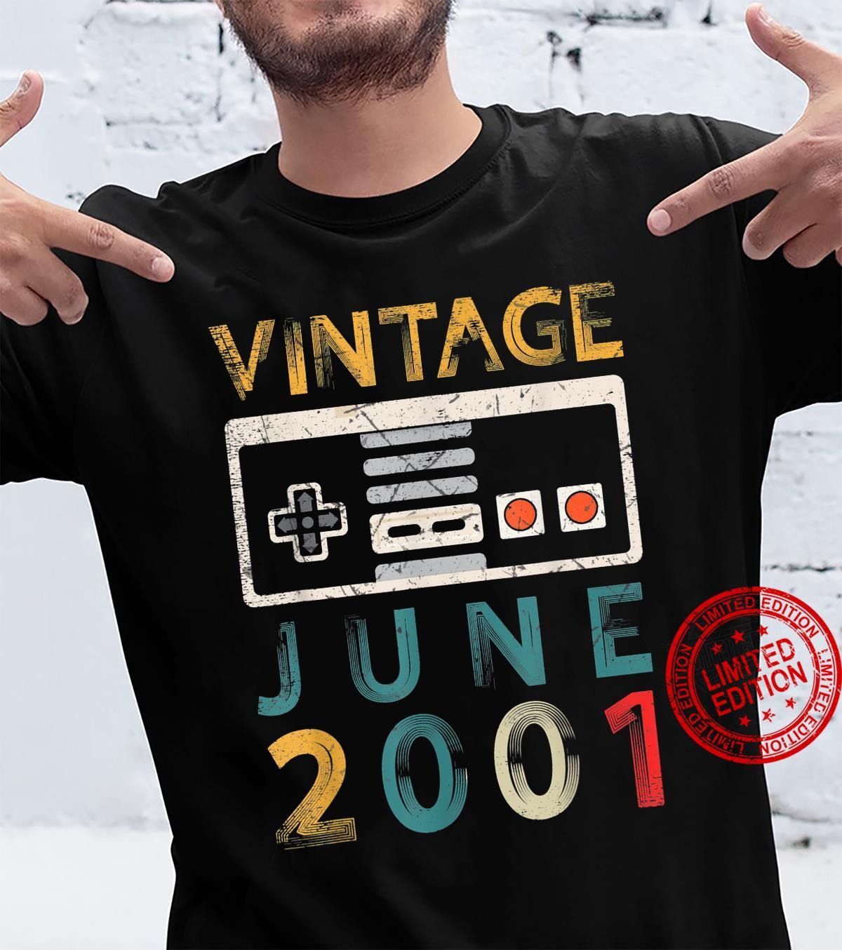 Vintage June 2001 20 Birthday 20 Year Old Gamer Shirt