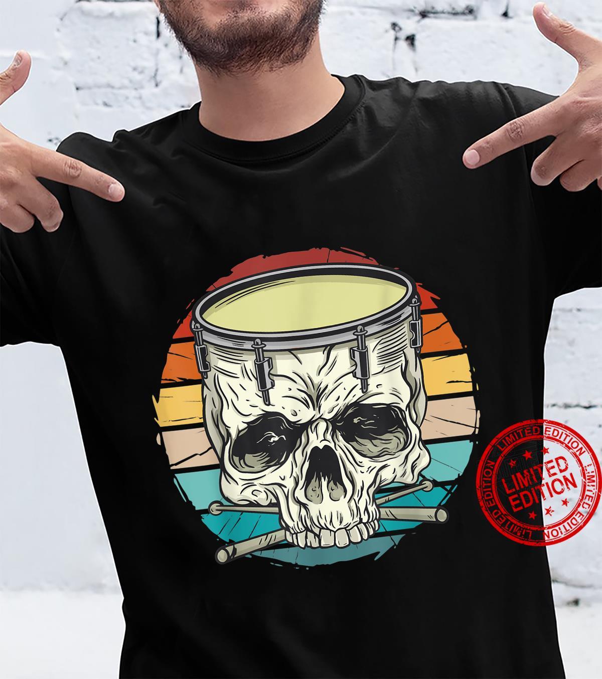 Vintage scary skull snare drum, creepy skeleton drummer Shirt