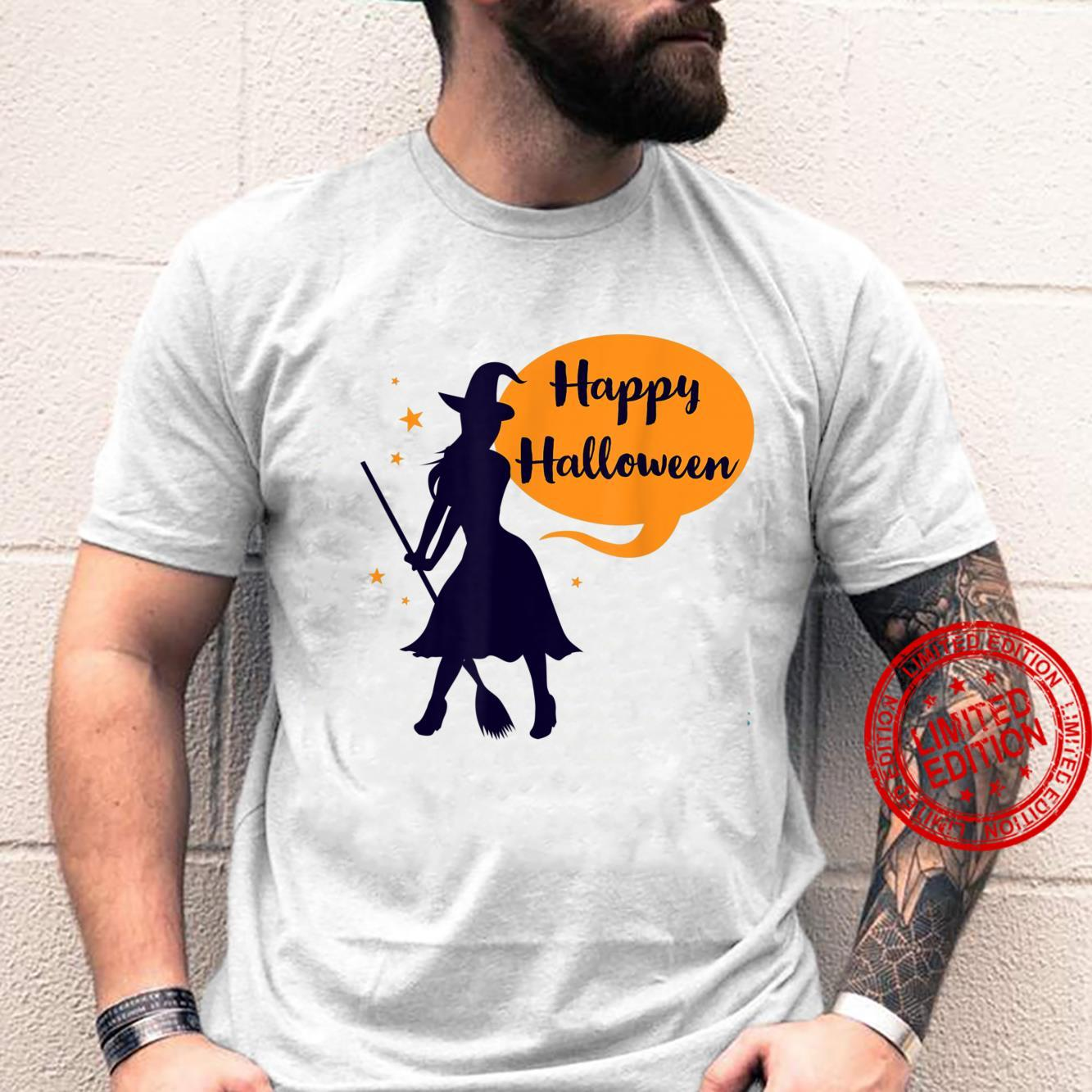 Witch Silhouette With Broomstick Cute Happy Halloween Shirt