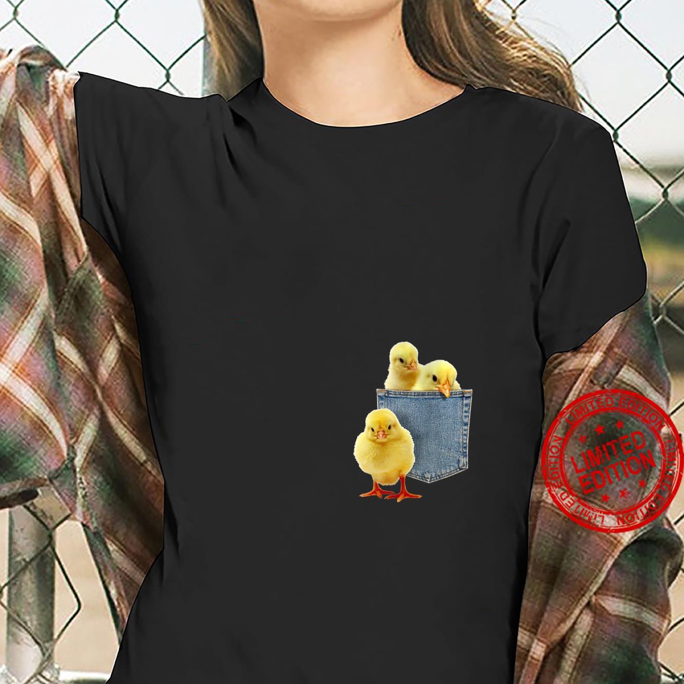 Womens Animal Chicks in My Pocket Peeking Chicken Animal Shirt ladies tee