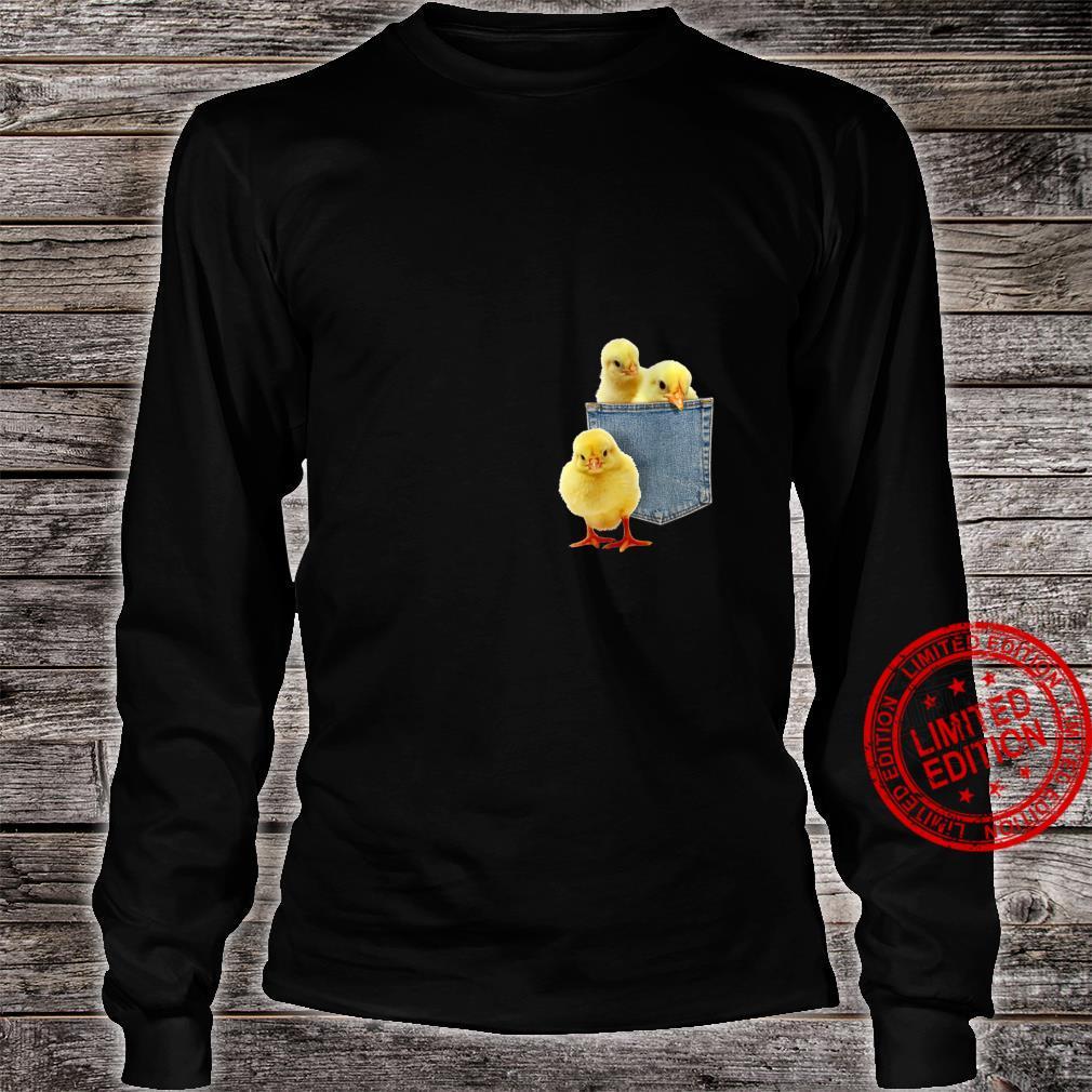 Womens Animal Chicks in My Pocket Peeking Chicken Animal Shirt long sleeved