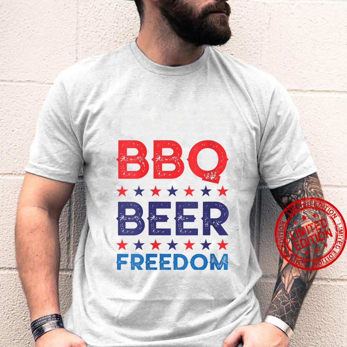 Womens BBQ Beer Freedom America USA Party 4th of July Summer Shirt