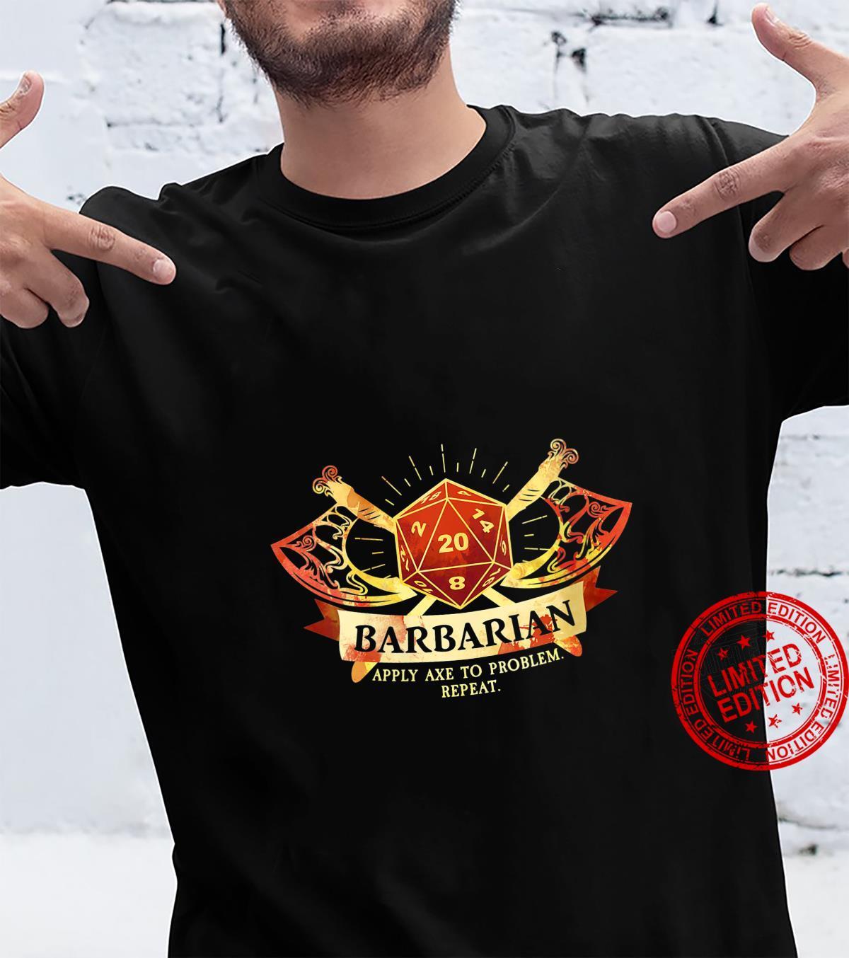 Womens Barbarian Class D20 Tabletop Dungeons RPG Dragons Shirt