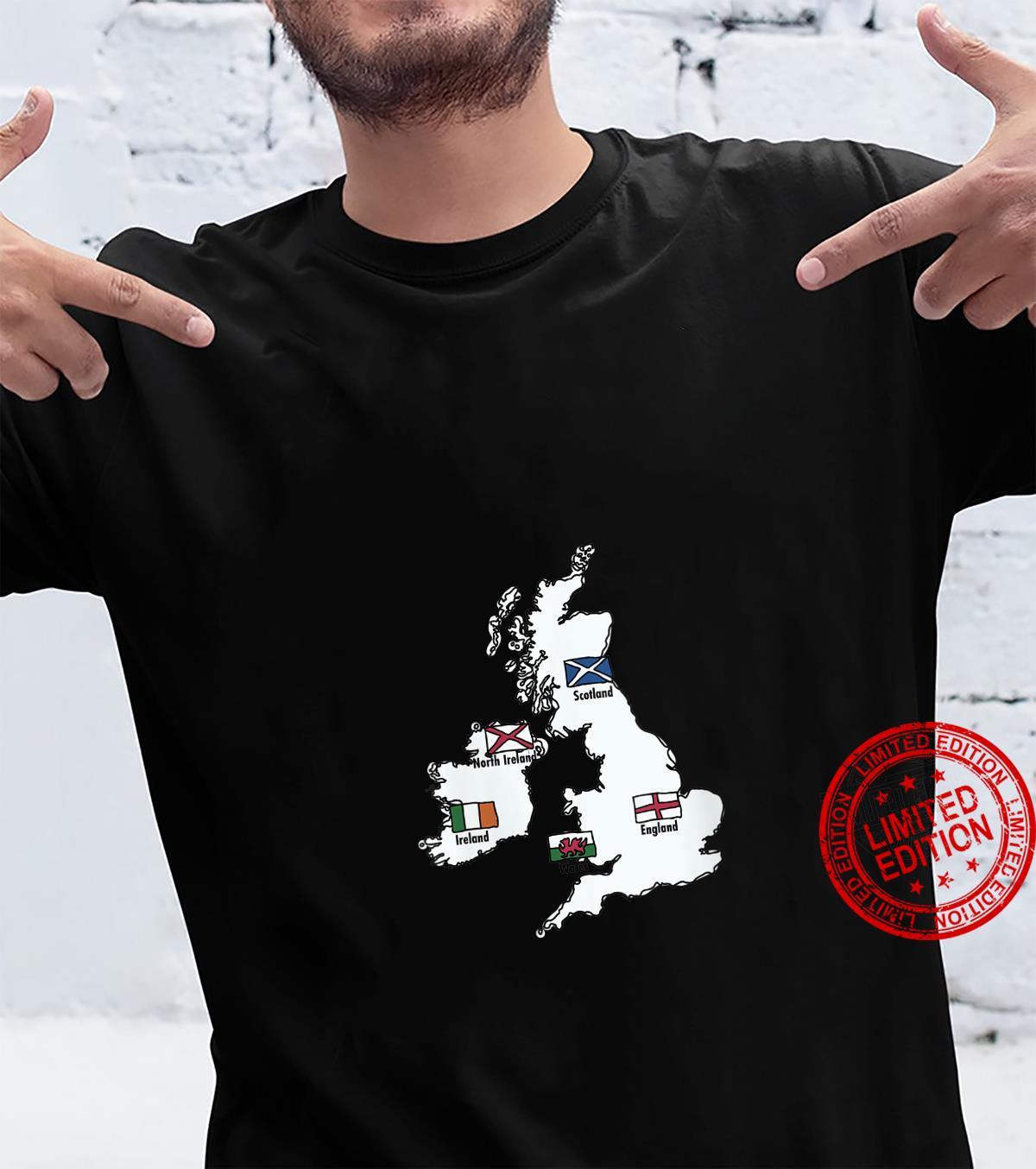 Womens British Isles Sea Ireland Scotland Wales England Map Coins Shirt