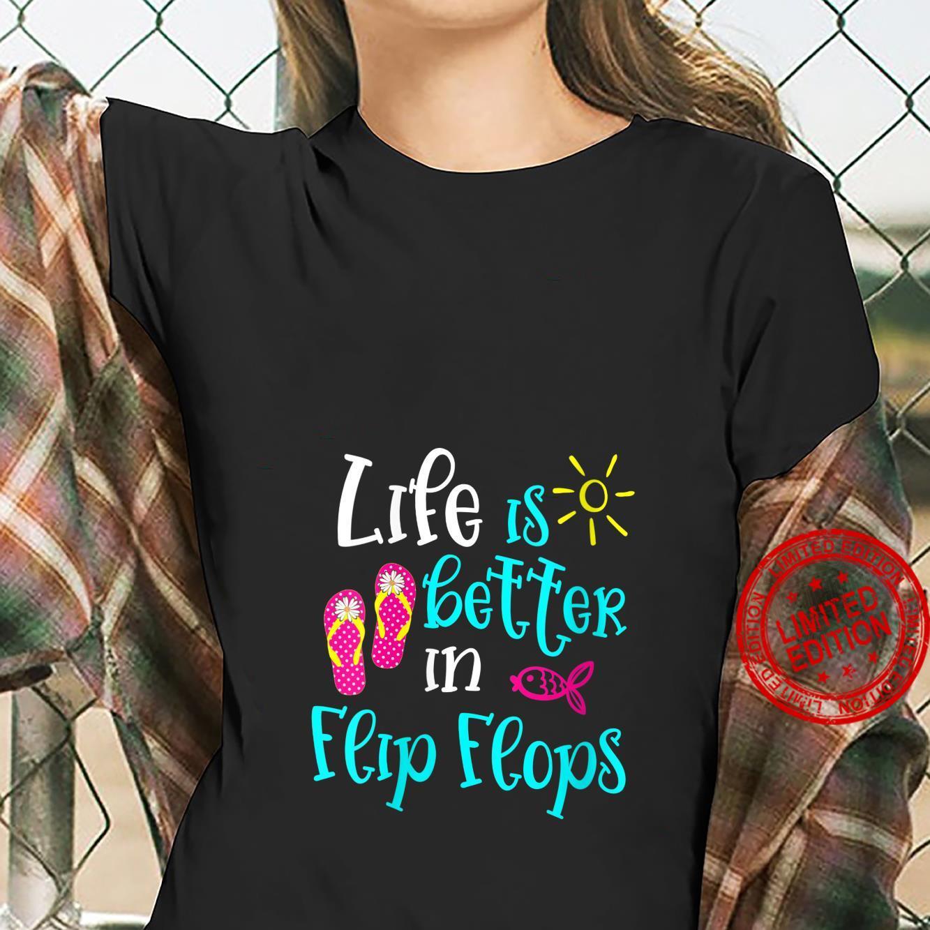Womens Life Is Better In Flip Flops Cute Beach Vacation Group Shirt ladies tee