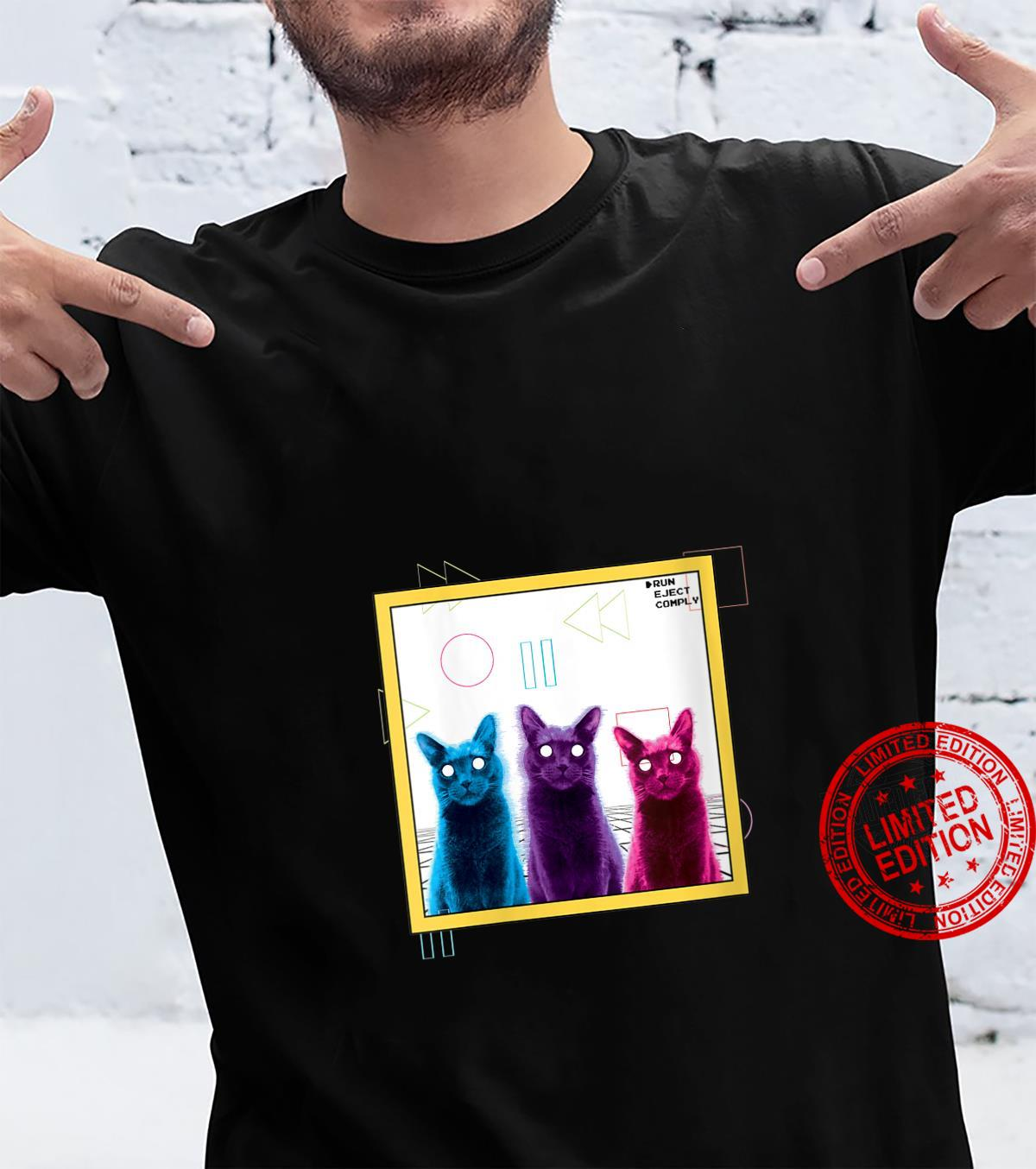 Womens Vaporwave Aesthetic Glitch Art Cats Techo Goth Synth Music Shirt