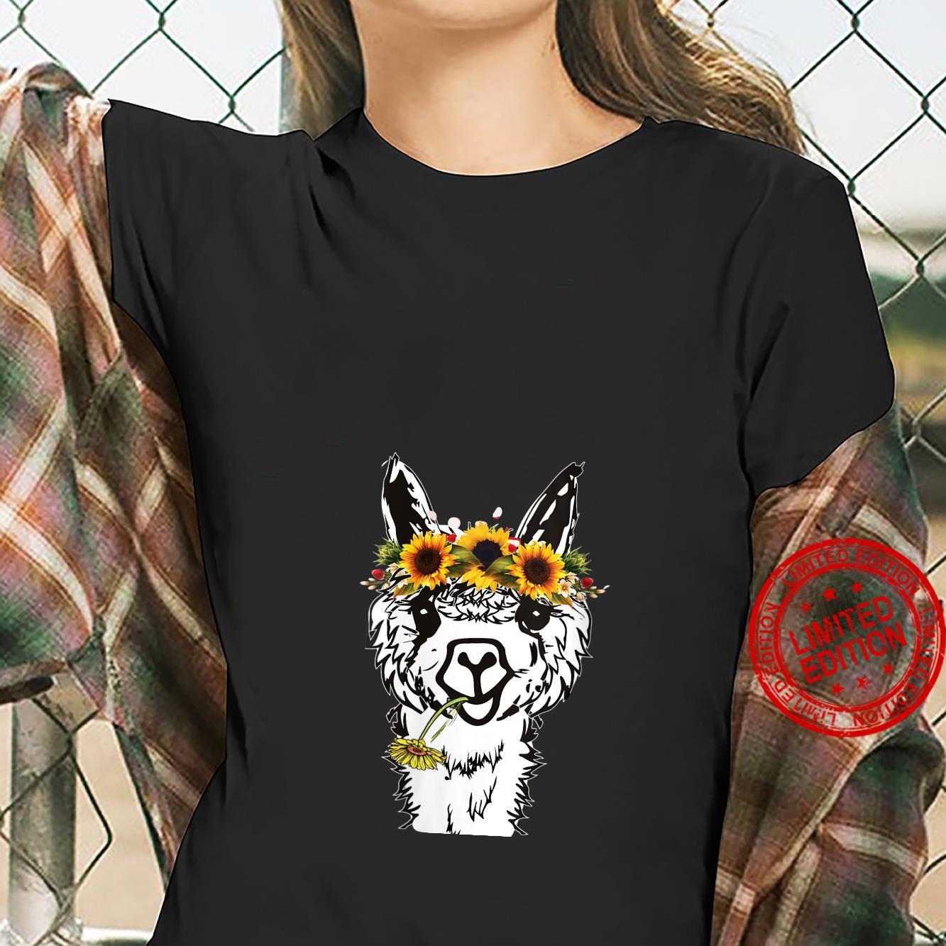 Womens's Llama Sunflower Head Bandana Llama Alpacas Shirt ladies tee
