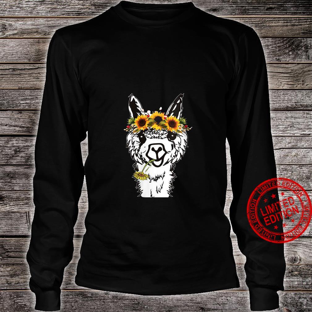 Womens's Llama Sunflower Head Bandana Llama Alpacas Shirt long sleeved