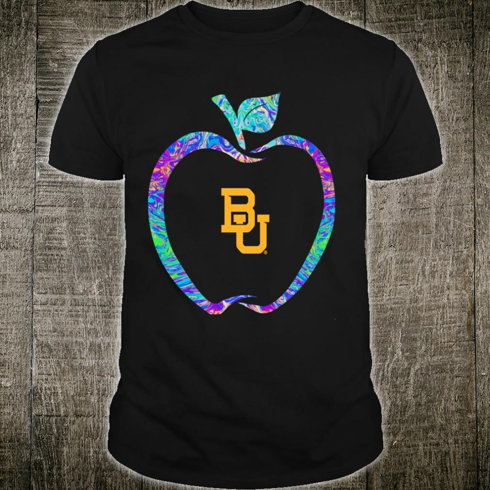 Baylor Bears Teacher Apple Outline Rainbow Swirl Team Shirt