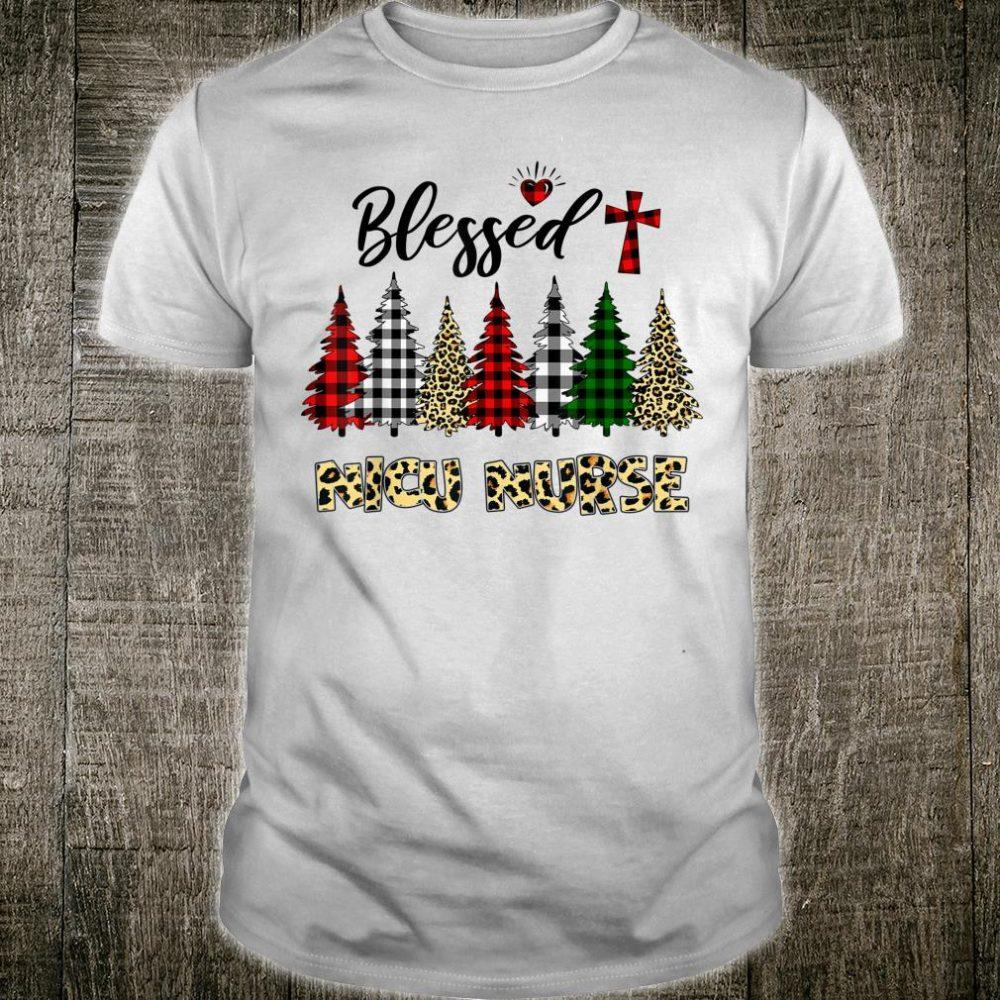 Blessed NICU Nurse Leopard Print Christmas Tree Shirt
