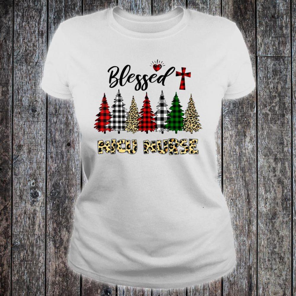 Blessed NICU Nurse Leopard Print Christmas Tree Shirt ladies tee