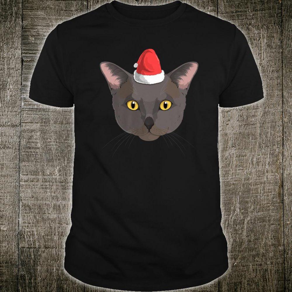 Burmese Cat Santa Claus Hat Christmas XMas Kitty Cute Shirt