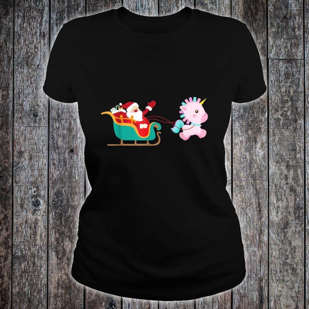 Christmas Unicorn Pulling Santa Sleigh Shirt ladies tee