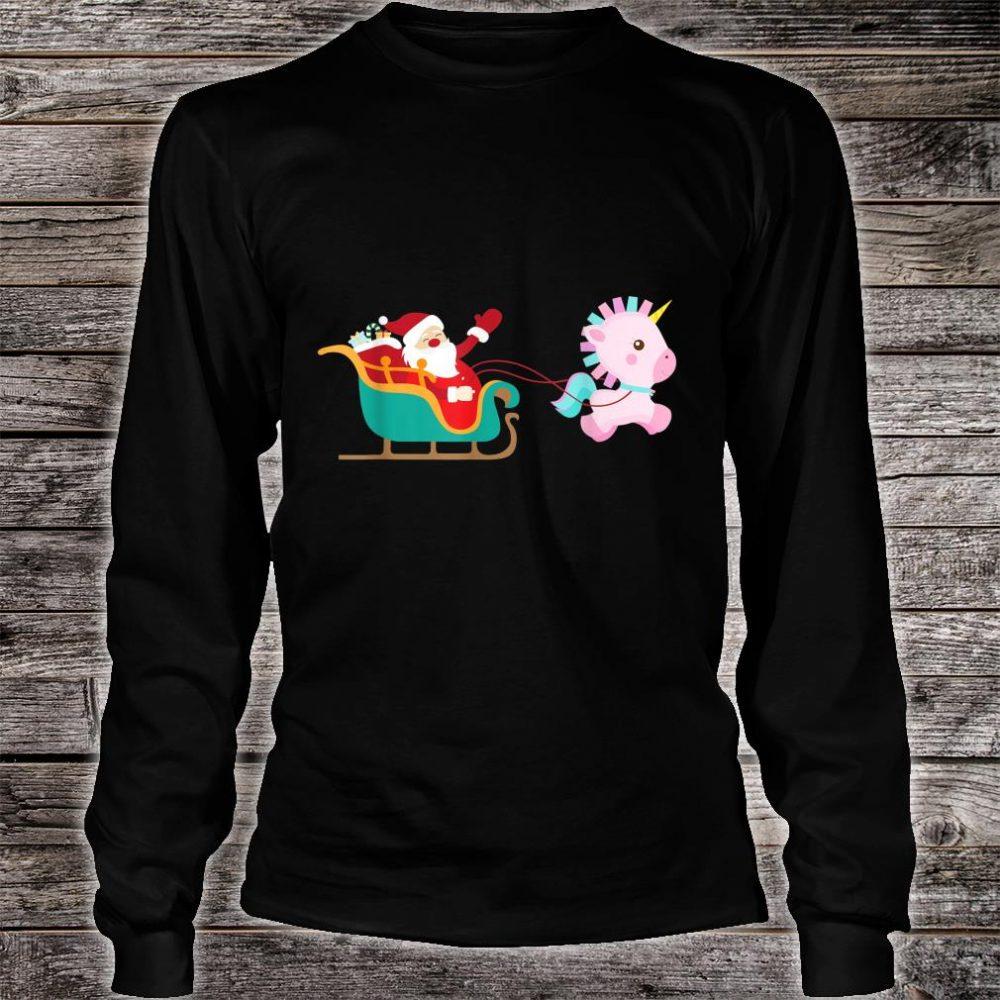 Christmas Unicorn Pulling Santa Sleigh Shirt long sleeved
