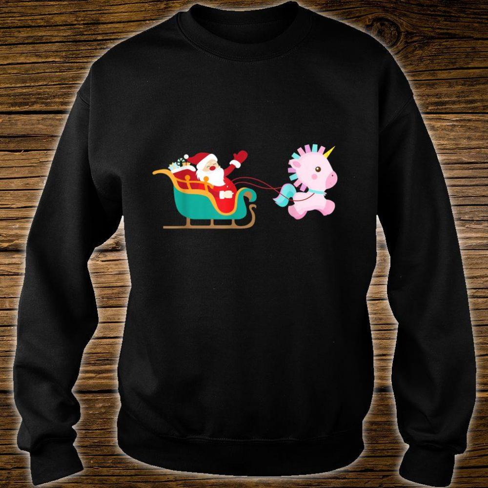Christmas Unicorn Pulling Santa Sleigh Shirt sweater
