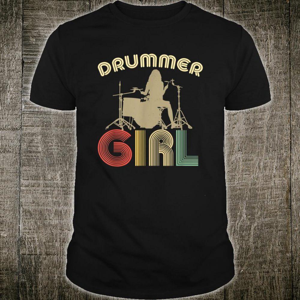 Drummer Girl Retro Vintage Drumming Musician Percussionist Shirt