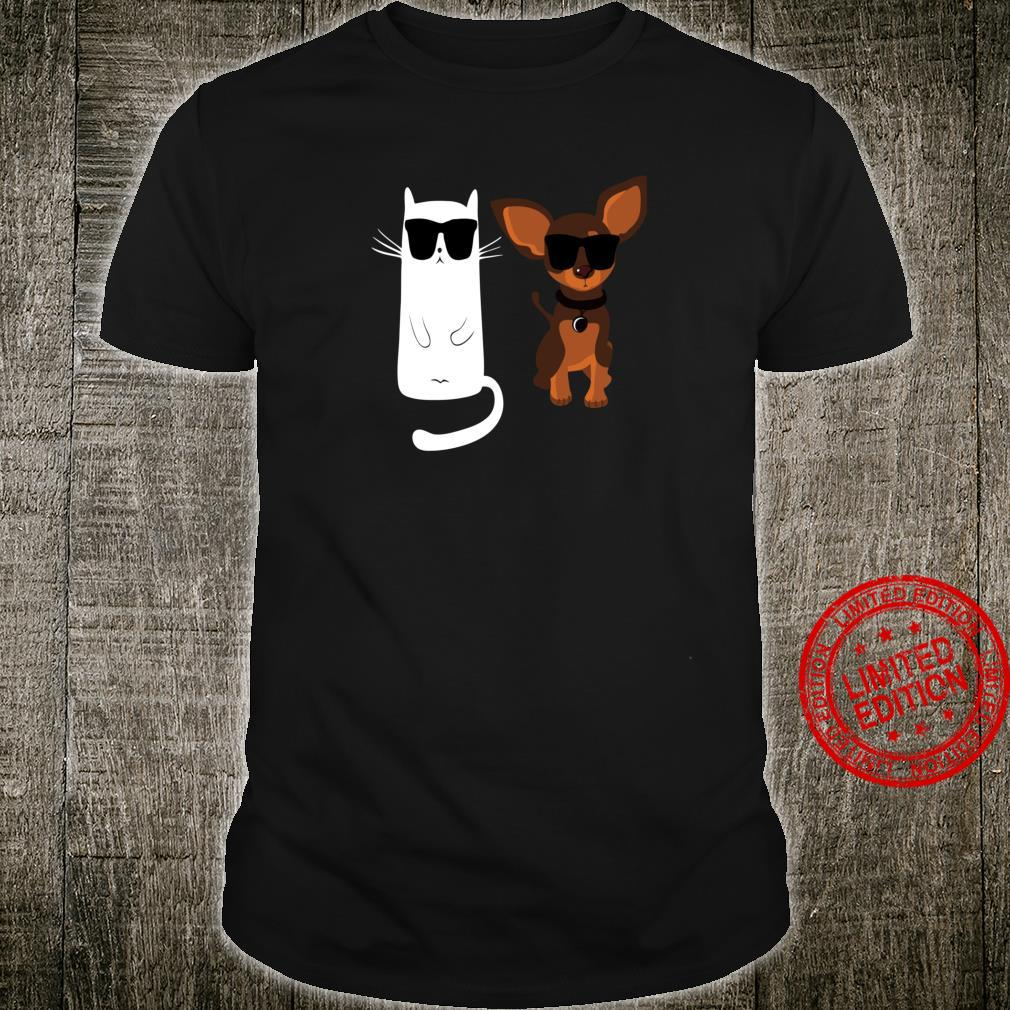 Funny Cat And Dog Wearing Sunglasses Shirt