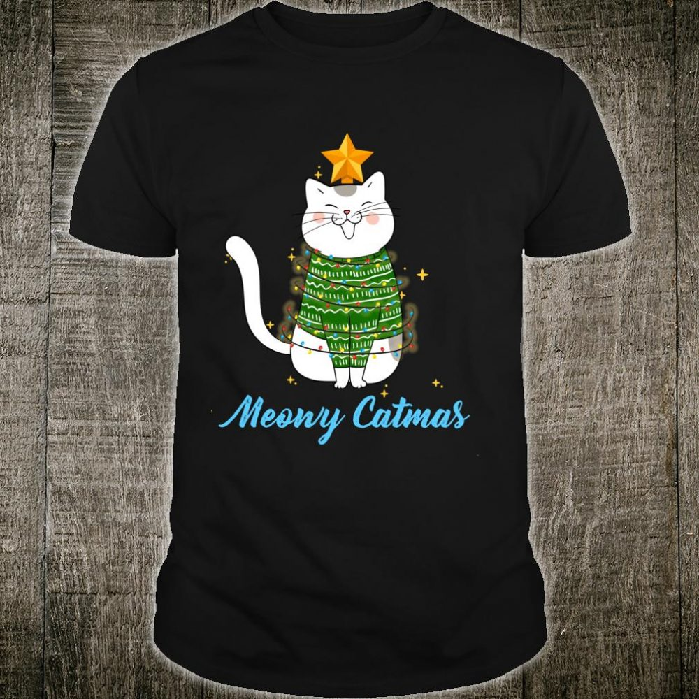 Funny Cute Christmas Cat Meowy Catmas Cat Christmas Tree Shirt