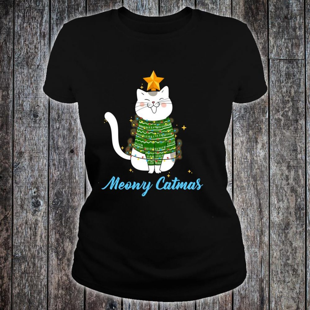 Funny Cute Christmas Cat Meowy Catmas Cat Christmas Tree Shirt ladies tee