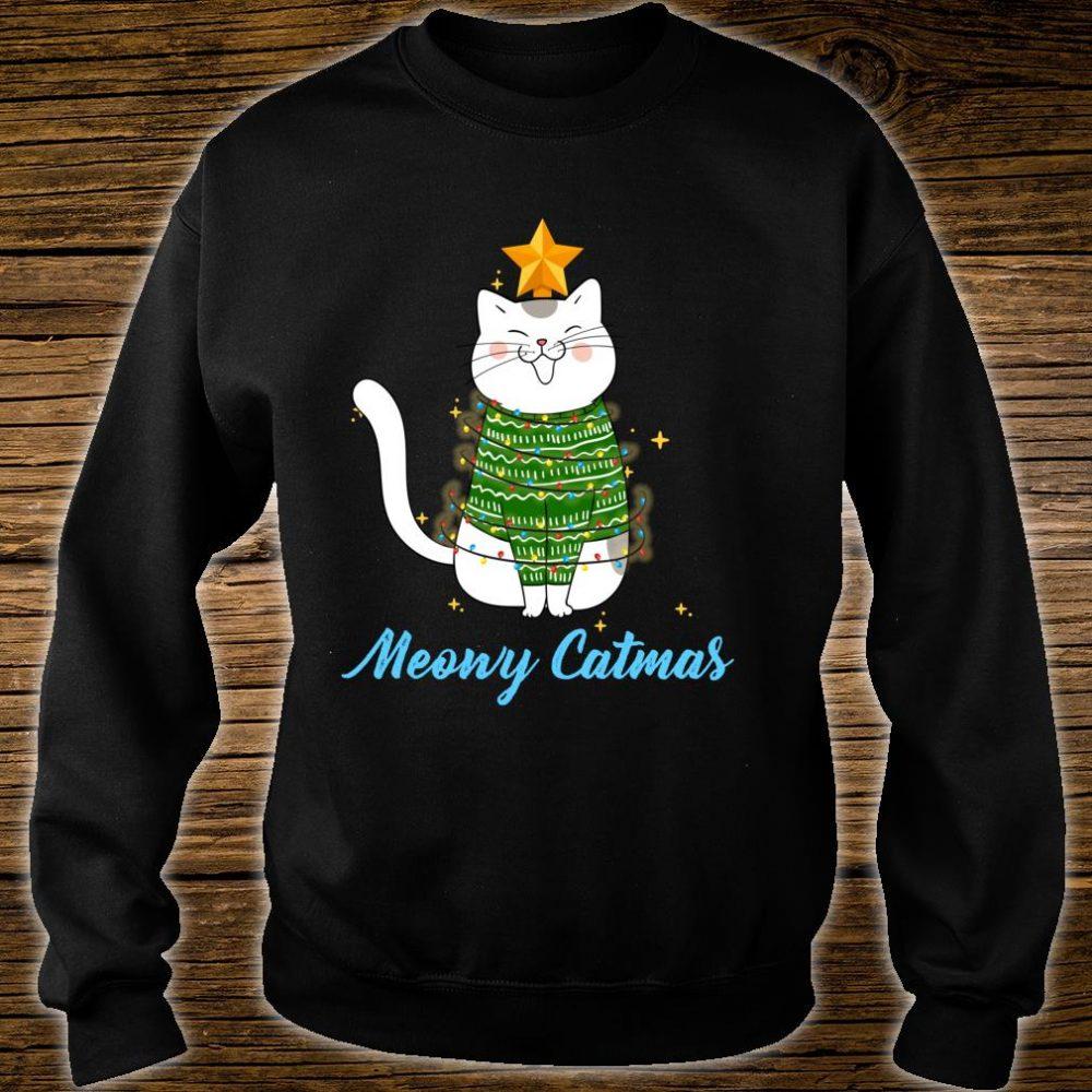 Funny Cute Christmas Cat Meowy Catmas Cat Christmas Tree Shirt sweater