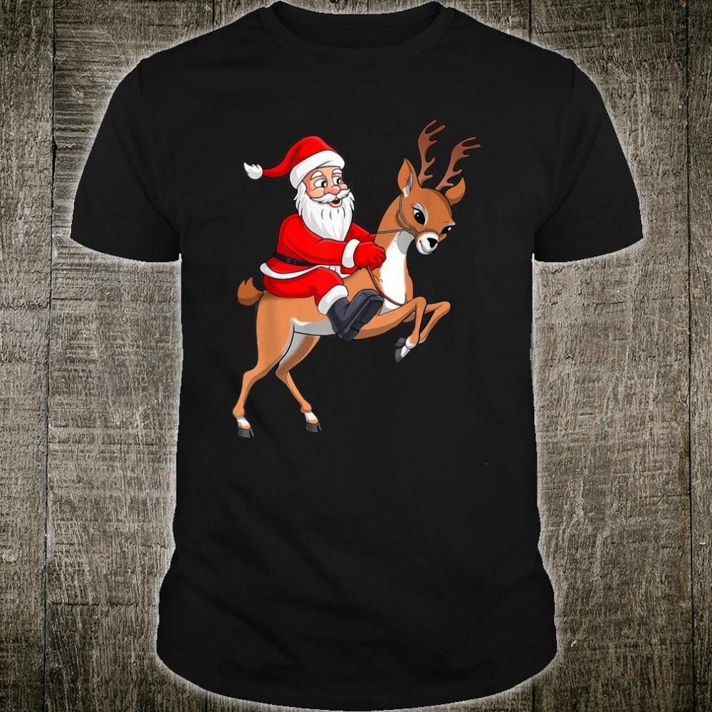 Funny Family Christmas Costume Santa Riding Reindeer Shirt