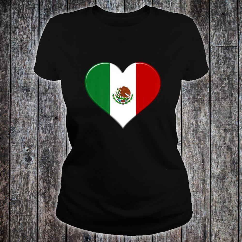 I love Mexico National Flag Pride Heart Shirt ladies tee