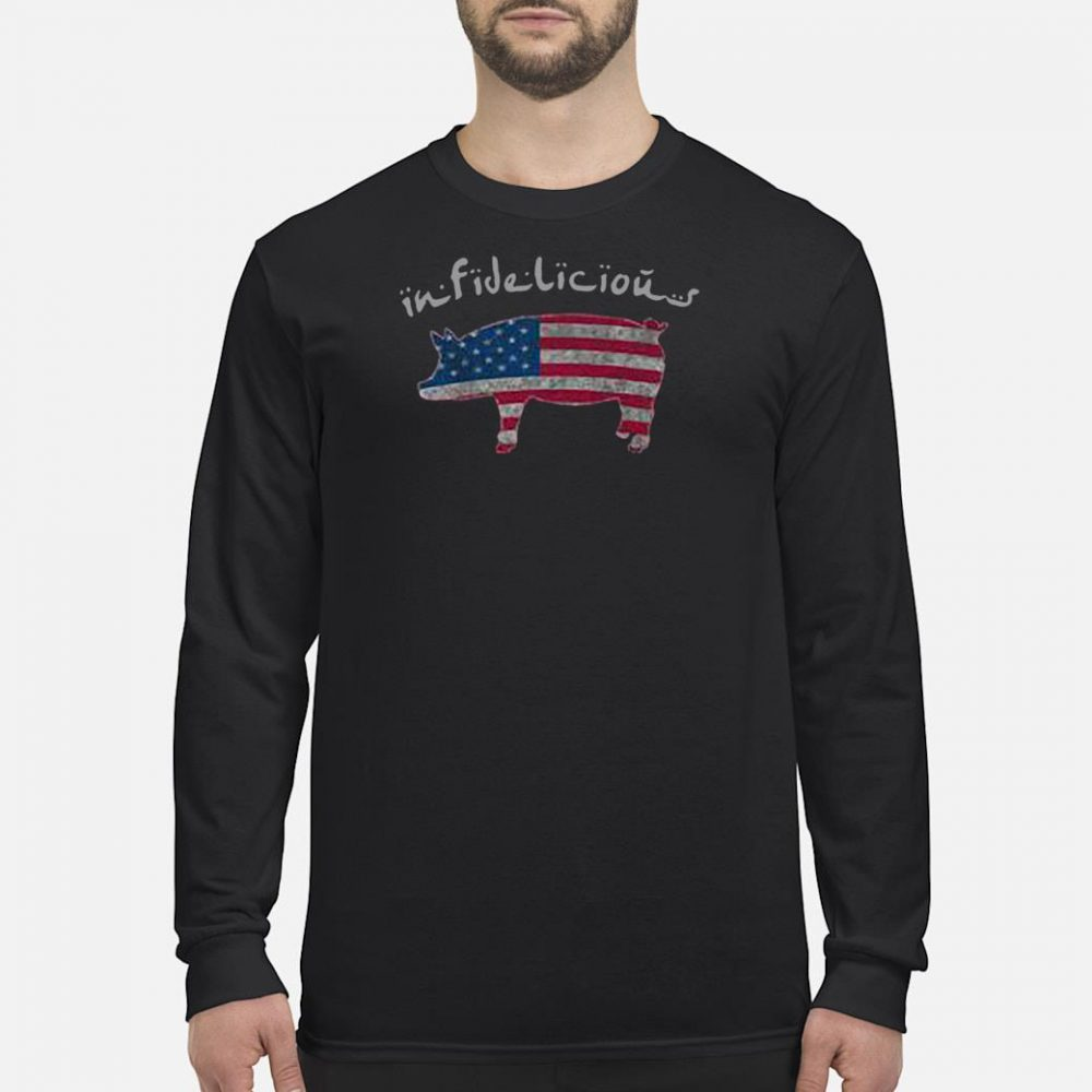 Infidelious pig in American flag shirt long sleeved